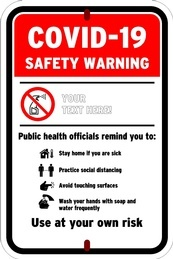 COVID Safety Warning Sign Board Manufacturing Belleville by B M R  Mfg  Inc