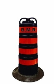 Traffic Barrel with High Intensity Orange Stripes Trent Hills by B M R  Mfg Inc